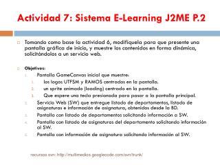 Actividad 7: Sistema E-Learning J2ME P.2