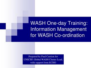 WASH One-day Training: Information Management for WASH Co-ordination