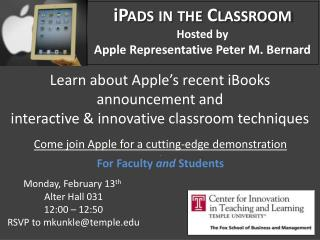 Learn about Apple's recent iBooks  announcement and  interactive & innovative classroom techniques