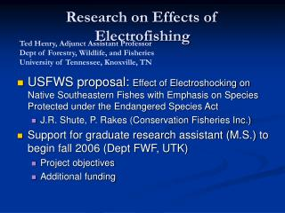 Research on Effects of Electrofishing