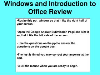 Windows and Introduction to Office Review