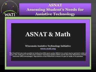 ASNAT & Math Wisconsin Assistive Technology Initiative wati