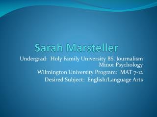 Sarah  Marsteller