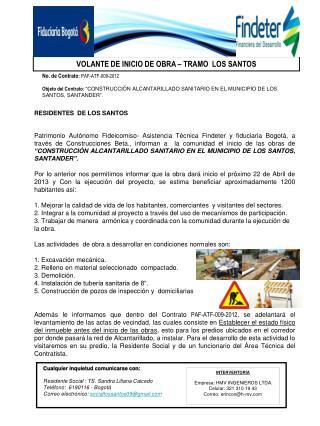 No. de Contrato :  PAF-ATF-009-2012