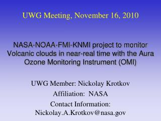 UWG Meeting, November 16, 2010