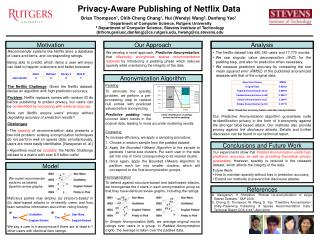 Privacy-Aware Publishing of Netflix Data