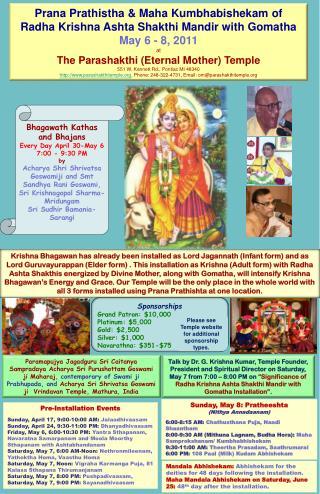 Prana Prathistha  &  Maha Kumbhabishekam  of  Radha  Krishna  Ashta Shakthi Mandir  with  Gomatha