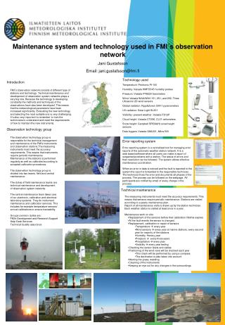 Maintenance system and technology used in FMI´s observation network Jani Gustafsson