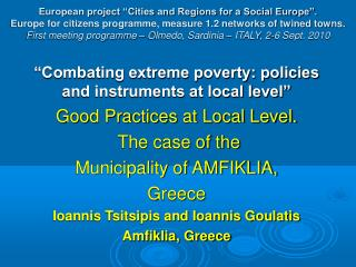 """""""Combating extreme poverty: policies and instruments at local level"""""""