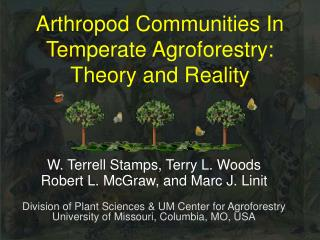 Arthropod Communities In Temperate Agroforestry: Theory and Reality