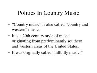 Politics In Country Music
