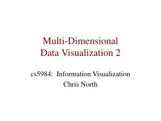 Multi-Dimensional  Data Visualization 2
