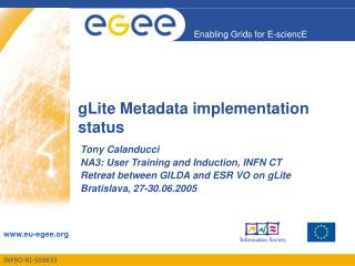 gLite Metadata implementation status