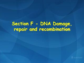 Section  F -  DNA  Damage, repair and recombination