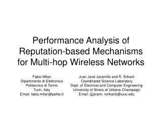 Performance Analysis of Reputation-based Mechanisms for Multi-hop Wireless Networks