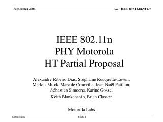 IEEE 802.11n  PHY Motorola  HT Partial Proposal