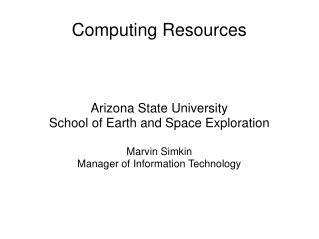 Computing Resources