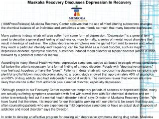 Muskoka Recovery Discusses Depression In Recovery