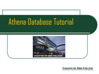 Athena Database Tutorial