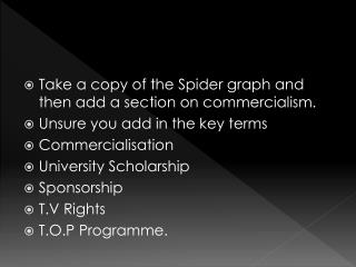 Take a copy of the Spider graph and then add a section on commercialism.