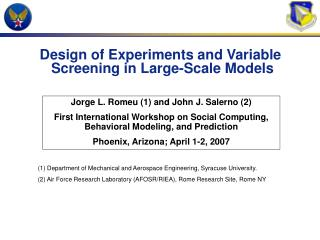 Design of Experiments and Variable  Screening in Large-Scale Models