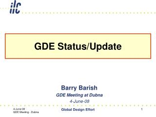 GDE Status/Update
