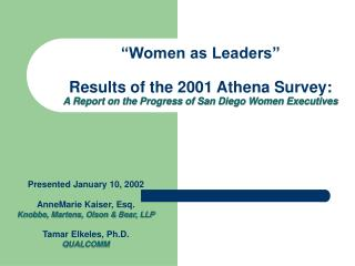 Presented January 10, 2002 AnneMarie Kaiser, Esq. Knobbe, Martens, Olson & Bear, LLP