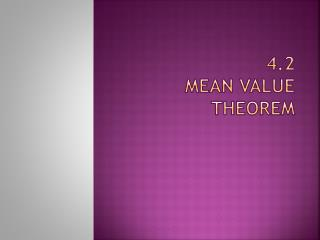4.2 Mean value theorem