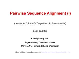 Pairwise Sequence Alignment (I)