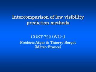 Intercomparison of low visibility prediction methods