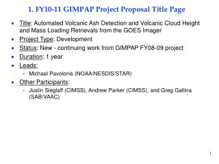 1. FY10-11 GIMPAP Project Proposal Title Page