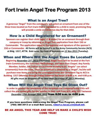 Fort Irwin Angel Tree Program 2013 What is an Angel Tree?