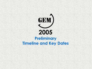 2005 Preliminary Timeline and Key Dates
