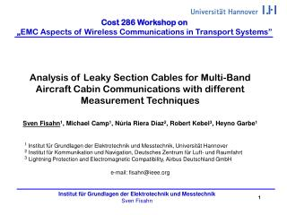 Cost 286  Workshop on � EMC Aspects of Wireless Communications in Transport Systems�