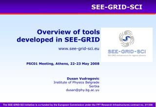 Overview of tools developed in SEE-GRID