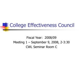 College Effectiveness Council