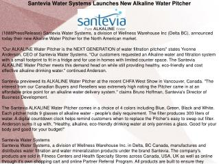 Santevia Water Systems Launches New Alkaline Water Pitcher