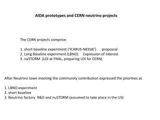 AIDA prototypes and CERN neutrino  projects