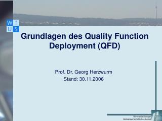 Grundlagen des Quality Function Deployment QFD