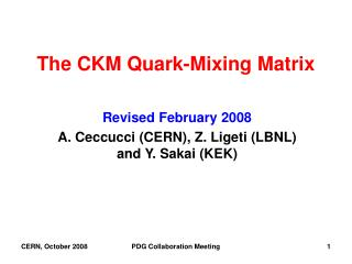 The CKM Quark-Mixing Matrix