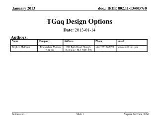 TGaq Design Options