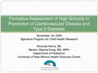 Formative Assessment of High Schools in Prevention of Cardiovascular Disease and Type 2 Diabetes