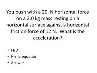 FBD F=ma  equation Answer