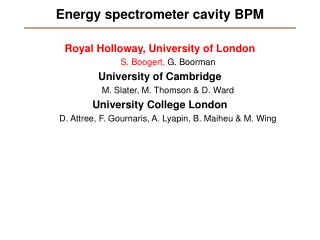 Energy spectrometer cavity BPM
