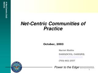 Net-Centric Communities of Practice