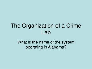 The Organization of a Crime Lab
