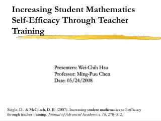 Increasing Student Mathematics Self-Efficacy Through Teacher Training