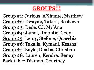 GROUPS!!!