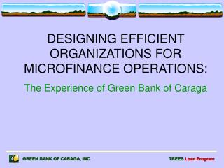 DESIGNING EFFICIENT ORGANIZATIONS FOR MICROFINANCE OPERATIONS:
