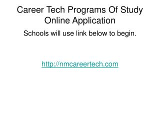 Career Tech Programs Of Study Online Application